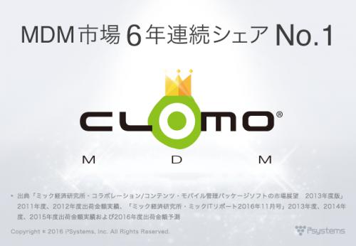 CLOMO MDM、MDM市場6年連続シェアNo.1を達成