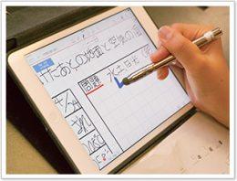 児童は1人1台のiPad を使って、MetaMoJi ClassRoomで授業の振り返りを書き込む。