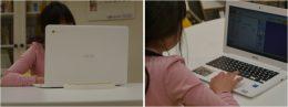 Chromebookを使用し「すらら」を学習する様子