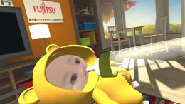 体験中の視界、体験者自身の顔画像から赤ちゃんが生成されている