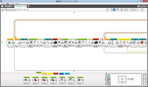 図2.EV3ソフトウェア プログラミング画面