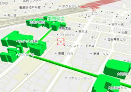 「gooラボ地図API」を使った経路が強調された地図