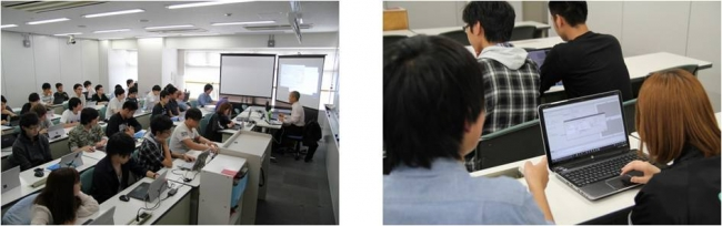 """左:データテクノロジー社様による導入授業の様子 右:学生が自分のPC上で""""マイAI""""を育てている風景"""