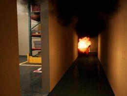 火災現場からの避難を体験