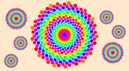 小学生向け体験教室で作成する「ひまわりの種のパターン」