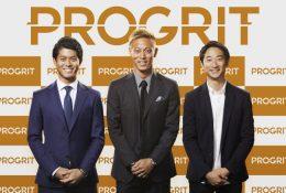 左から、株式会社GRIT 代表取締役社長 岡田 祥吾、本田 圭佑氏、株式会社GRIT 副社長 山碕 峻太郎