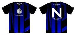 N高「eスポーツ部」のユニフォームデザイン(左:正面/右:背面)